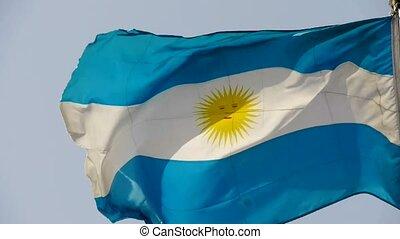 Argentina flag is fluttering in wind