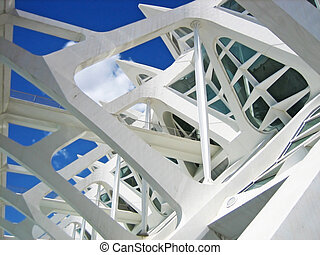 White contemporary building - Structural details of a...
