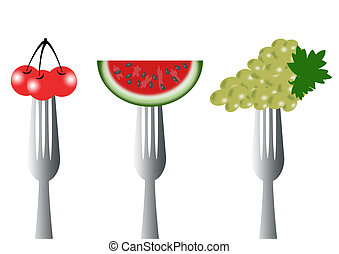 fruit  - three forks with three types of fruit