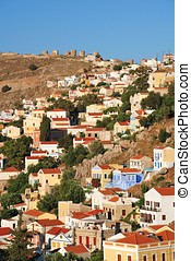 Yialos, Symi island - Looking over the neoclassical...