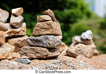 Stone cairns - Small stone cairns in buddhist temples park