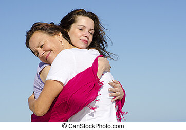 Mother and daughter happy together - Happy mother and...