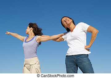 Mother daughter sky background - Happy generations of mother...