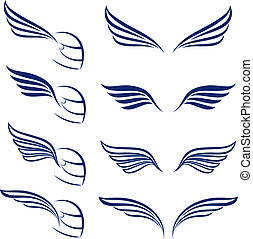 Elements of design racing wings Illustration on white...