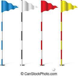 Golf flags - Flags of the golf course Illustration on white...