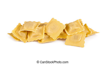 Homemade tortellini isolated on white