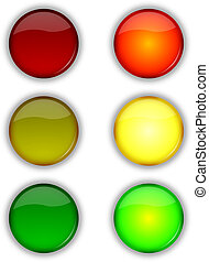 Web security traffic lights buttons - Glossy web security on...