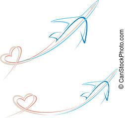 Plane with heart shape trace - Flying airplane with heart...