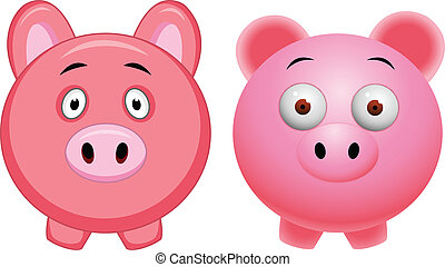 Pig cartoon  - Vector Illustration Of Pig cartoon