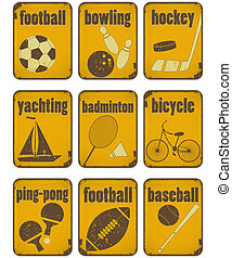 sport grunge signs - set of Sport separate Signs - Retro...