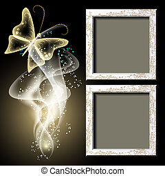 Background with grungy photo frame, butterfy and smoke -...