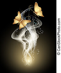 Smoke and butterfly - Glowing background with smoke, stars...