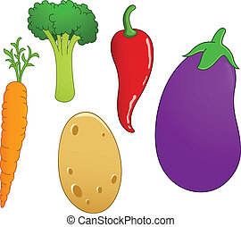 Vegetable set 2 - Vegetable set: carrot, broccoli, chili...