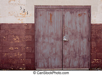 Bad Paint Job Doors - Double doors and wall with a bad paint...