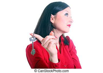 brunette girl with  key