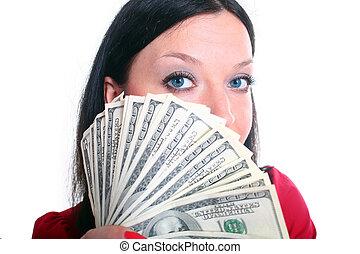 brunette girl with money