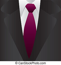 Formal suit and tie, close up, vector illustration