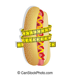 measuring tape around hot dog - illustration of measuring...