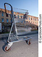 Shopping Cart In Building Parking Lot