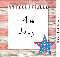 4th of July independence day on note paper