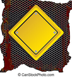 rhombus sign - rhombus yellow sign over rusty background....