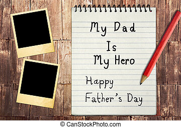 Happy Father's Day Note Paper with instant photo frames