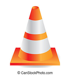 traffic cone orange with white stripes, vector illustration