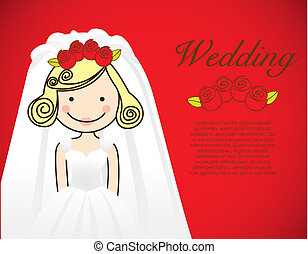 bride wedding dress on red background, vector illustration