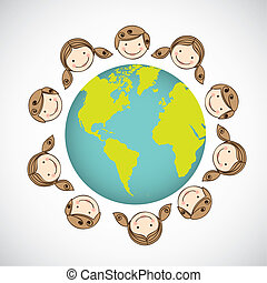 children around the world - illustration of children around...