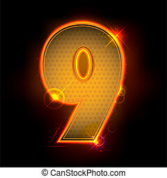 Glowing Number Nine
