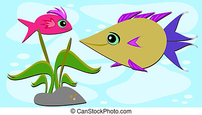 Two Fish Friends and a Rock
