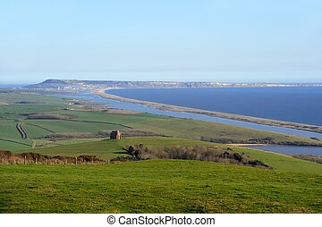 View over Abbotsbury, Dorset towards Portland