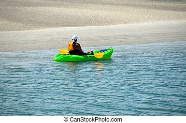 Kayaker on the river - Lady kayaker on the Matanzas River...