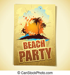 Beach Party - illustration of poster with surfer in sea for...