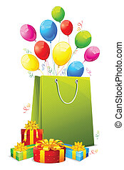 Gift Hamper - illustration of colorful ballon and confetti...