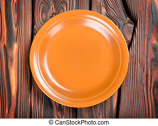 Plate on a wooden table