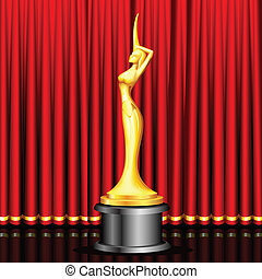 Golden Award on Stage - illustration of lady statue trophy...