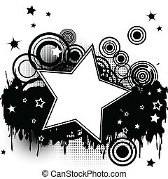 Grunge splash background with stars, circles and place for...