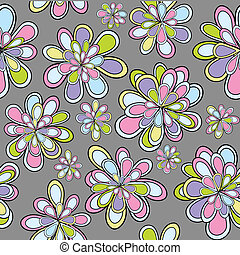 Seamles pattern with flowers in pastel tones