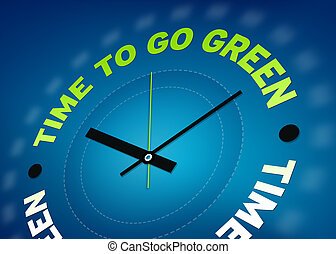 Time to go green clock illustration on blue background