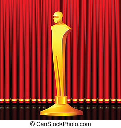 Golden Award - illustration of gold award in shape of male...