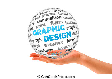 Graphic Design - Hand holding a 3d Graphic Design Sphere on...