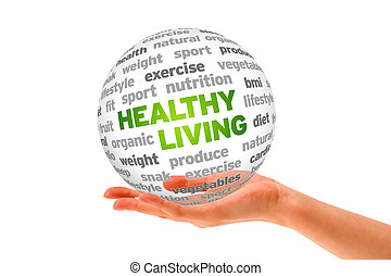 Healthy Living - Hand holding a 3d Healthy Living Sphere on...