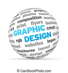 Graphic Design - 3d Graphic Design Word Sphere on white...