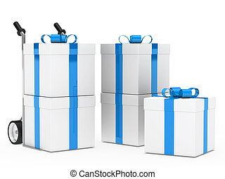 gift boxes hand truck