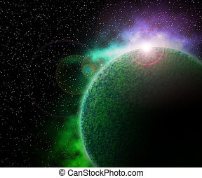 Green Planet in Space Background