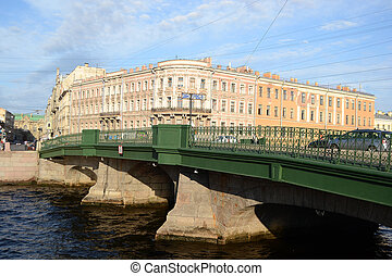 The bridge over the Fontanka canal - St.Petersburg, Russia -...