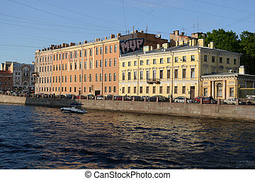 Fontanka canal in Saint-Petersburg - St.Petersburg, Russia -...