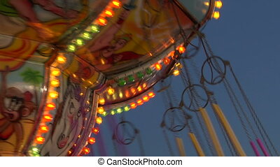 chain carousel slow motion 04 - Chain swing ride in...