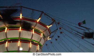 chain carousel slow motion 03 - Chain swing ride in...